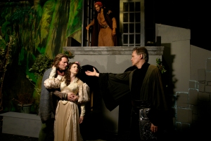 """Cast photo of """"Rappaccini's Daughter,"""" featuring Douglas McDonnell, Samantha Britt and William Broderick (Photo by Peter Welch)"""