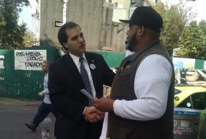 Nicholas Di iorio talks to a voter in Brooklyn. (Photo courtesy of Nicholas Di iorio)