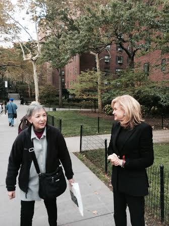 Congresswoman Carolyn Maloney chats with a voter in Stuyvesant Town.  (Photo courtesy of Congress Member Maloney)
