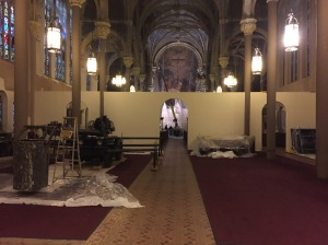 This week, work is ongoing to re-stabilize plaster on the walls of the church. (Photo by Sabina Mollot)