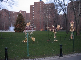 Pre-ice rink, figure skaters had a home on the Oval as well as other nondenominational holiday decorations in 2006. (Photo by Sabina Mollot)