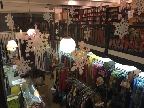 Thrift shops on East 23rd Street, like City Opera (pictured) are having holiday gift sales. (Photo by Maria Rocha-Buschel)