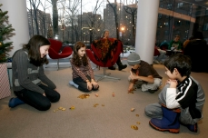Kids spin dreidels as part of the Hanukkah festivities in 2008. (Photo courtesy of Tishman Speyer)