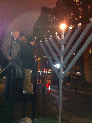 Assemblyman Brian Kavanagh and Peter Cooper Rabbi Chezky Wolff at the PCV menorah lighting in 2010