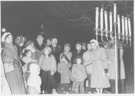 Families attend he menorah lighting in 1985. (T&V archive photo)