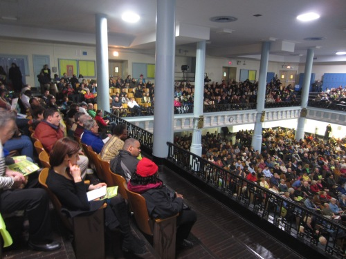 The auditorium of the High School for Health Professions and Human Services was packed with people, many from Stuyvesant Town/Peter Cooper Village,  to be trained in emergency preparedness from the New York National Guard. (Photo by Maria Rocha-Buschel)