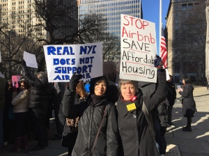 Stuyvesant Town tenants Arlene Dabreo and Marina Metalios were among hundreds protesting Airbnb outside City Hall before  a legnthy hearing attended by Airbnb execs, hosts who use the service, tenants and politicians. (Photo by Sabina Mollot)