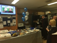 Lunch spread at the 13th Precinct and a moment of silence for the murdered officers