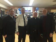 Local clergy members Reverend Jacob Smith of Calvary-St. George's, Monsignor Leslie Ivers of Epiphany Church and Rabbi Daniel Alder of The Brotherhood Synagogue with Chief William Morris, borough commander (not pictured guests) Associate Minister Ben DeHart of Calvary and the church's rector emeritus, Dr. Thomas Pike