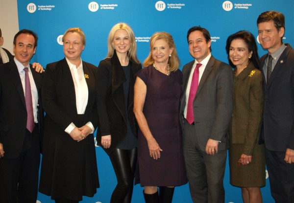 Eric Gertler of the EDC, Polish Consul General Urszula Gacek, fashion designer Karolina Zmarlak, Congresswoman Carolyn Maloney, Councilmember Dan Garodnick, FIT president Dr. Joyce Brown and State Senator Brad Hoylman (Photo by Maria Rocha-Buschel)