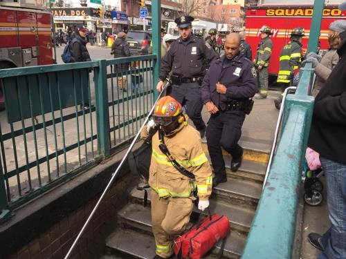 Emergency personnel at the scene (Photo by Sabina Mollot)