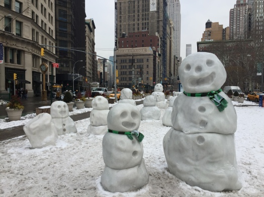 The marble snowmen statues were designed by artist Peter Regli. (Photo by Sabina Mollot)