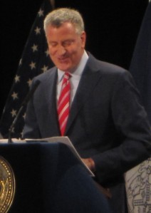 Mayor Bill de Blasio referenced Stuyvesant Town during his speech on affordable housing gone wrong. (Photo by Maria Rocha-Buschel)