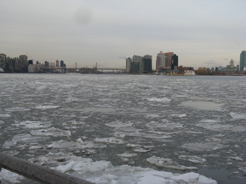 The East River by Stuyvesant Cove Park, pictured on a frigid day in late February (Photo by Edmund Dunn)