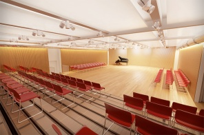 Rendering of the renovated auditorium with moveable seating and no overhead HVAC