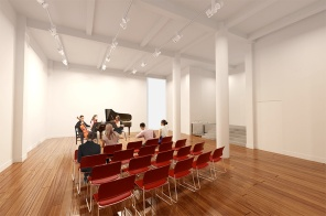 Rendering of a new ensemble space to be built next to a recording studio