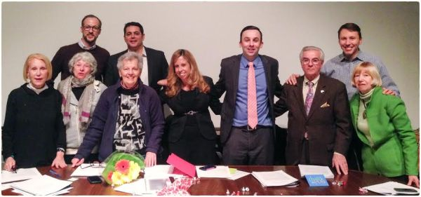 Gramercy Park Block Association President Arlene Harrison, GPBA Quality of Life Committee Chair Sean Brady, with CB6 BASA Committee members (pictured L-R) Florence Friedman, Daniel Devine, Ellen Imbimbo, Chair Nicole Paikoff,  new Chair Keith Powers, Frank Scala, Public Member Josh Handshaft and Paige Judge