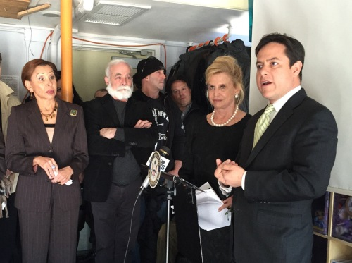 Congresswoman Nydia Velasquez; Chris Collins, executive director of Solar One; Congresswoman Carolyn Maloney and Council Member Dan Garodnick at Solar One (Photo by Sabina Mollot)