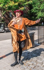 An actor dressed as a town crier sings Tenant King's praises as the company attempts to market its services to Stuyvesant Town residents. (Photo courtesy of Tenant King)