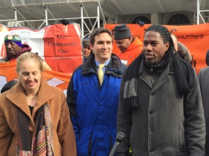 Manhattan Borough President Gale Brewer and City Council Housing Chair Jumaane Williams (right) outside City Hall with tenants (Photo by Sabina Mollot)
