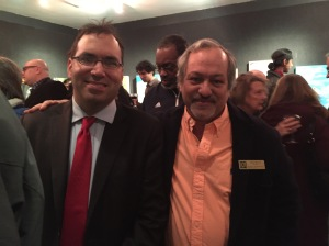 Lyle Frank (left) with fellow Tilden Democratic Club member Alan Krevis, also the president of Gramercy Neighborhood Associates, at a GNA art show last month (Photo by Sabina Mollot)