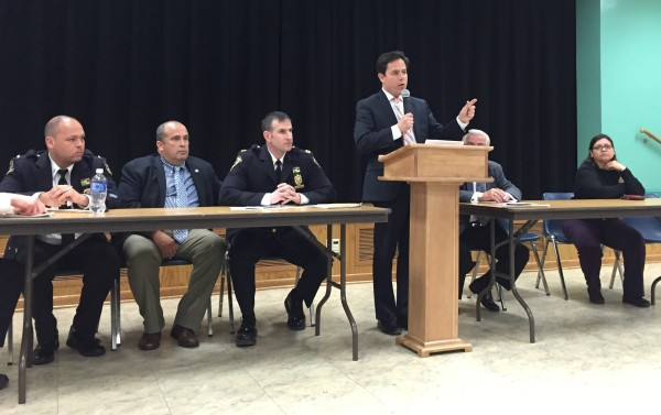 Councilmember Dan Garodnick spoke at Tuesday's 13th Precinct Community Council meeting, which drew  a large crowd concerned mainly about the Bellevue shelter for men.
