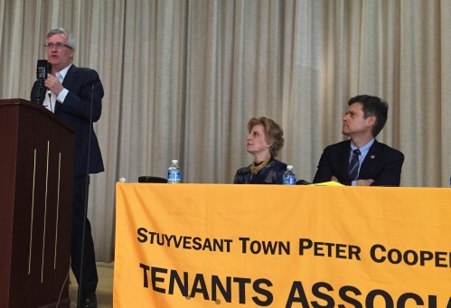 Assembly Member Brian Kavanagh, ST-PCV Tenants Association Chair Susan Steinberg and State Senator Brad Hoylman (Photo by Sabina Mollot)