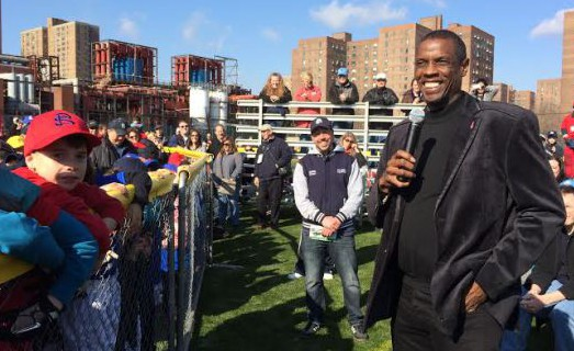 "Dwight ""Doc"" Gooden speaks to kids at last year's Peter Stuyvesant Little League Parade. (Photo by Sabina Mollot)"