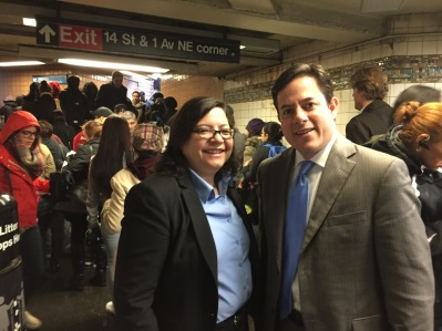 Council Members Rosie Mendez and Dan Garodnick at the First Avenue L train station