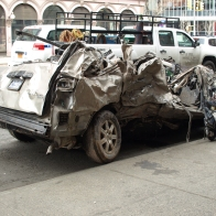 A minivan that was parked on Second Avenue had been towed to the Bowery and St. Mark's by this Tuesday. (Photo by Maria Rocha-Buschel)