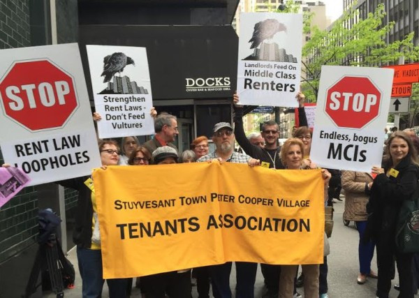 Stuyvesant Town tenant leaders participated in a rally for stronger rent laws outside Governor Cuomo's Manhattan office last Wednesday.  Photo by Rebecca Dumais)