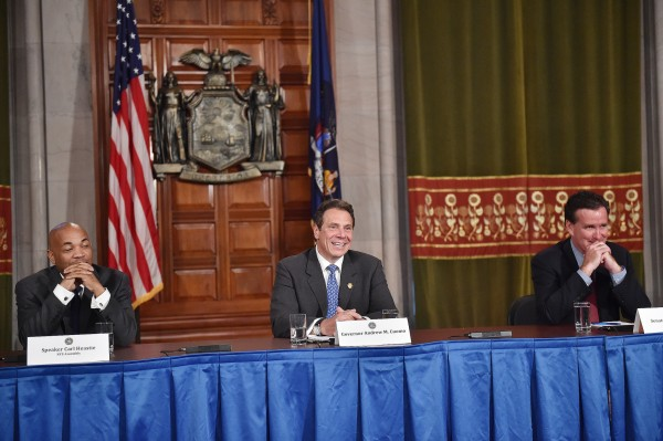 Assembly Member Carl Heastie, Governor Andrew Cuomo and Senate Majority Leader John Flanagan (Photo via Governor Andrew Cuomo Flickr)