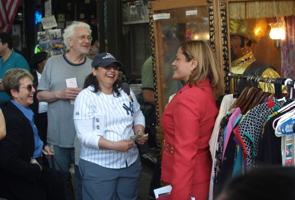 Councilwoman Rosie Mendez and Council Speaker Melissa Mark-Viverito at a stop along the Follow Me Friday shopping crawl