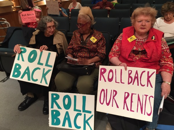 Stuyvesant Town residents sit in the audience at the hearing. On the right is Marietta Hawkes, a 38-year resident who gave testimony. (Photo by Sabina Mollot)