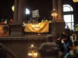 Tenants and elected officials rallied in Albany on Tuesday.