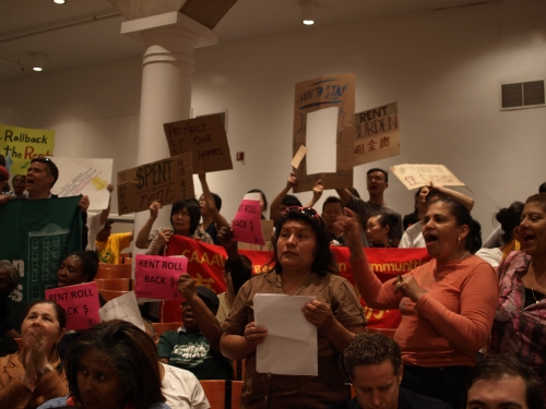 Tenants packed the Cooper Union auditorium on Monday for a brief vote that resulted in a historic rent freeze. (Photos by Maria Rocha-Buschel)