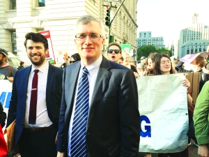 Assemblymember Brian Kavanagh (pictured at a rally in May) is one of the plaintiffs. (Photo by Sabina Mollot)