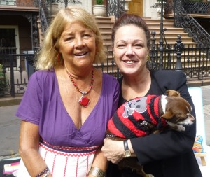 Cathryn Duhigg (right) holding Trippie (Shorty's bridesmaid), next to Trippie's owner Carol Schachter at the Gramercy Neighborhood Associates' Canine Comedy Parade in 2013 (Photo by Sabina Mollot)