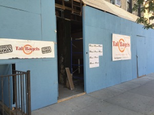 The bagel business is still working on its new bagel shop at the former Ess-a-Bagel space. (Photo by Sabina Mollot)