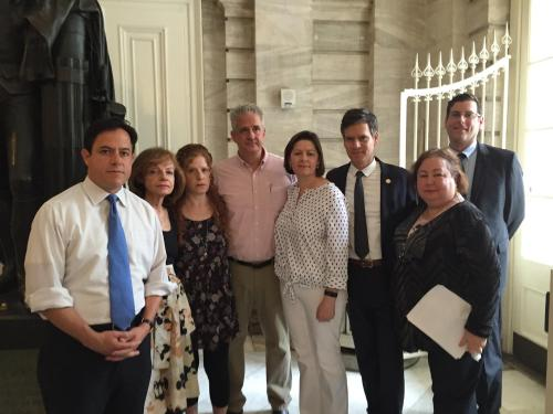 Council Member Dan Garodnick with Anita Chanko, widow of Mark Chanko, a former Stuyvesant Town and Peter Cooper resident whose medical treatment and death was filmed for a reality show without permission, Mark's daughter Pamela, his son Kennerh, Kenneth's wife Barbara, State Senators Brad Hoylman and Liz Krueger and Assembly Member Edward Braunstein of Queens (Photo by Sabina Mollot)