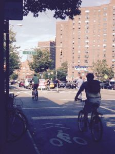 Cyclists use the bike lane near Stuy Town  correctly, which author Susan Turchin would like to see happen more often. (Photo by Susan Turchin)
