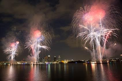 Fireworks, as seen from Waterside, lit up the night on July 4th. (Photo by Tobias Batz)