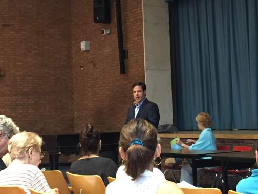 Council Member Dan Garodnick speaks to tenants at the legal clinic on nonrenewal notices and succession rights last Wednesday, as Stuyvesant Town-Peter Cooper Village Tenants Association President Susan Steinberg listens. (Photo by Maria Rocha-Buschel)