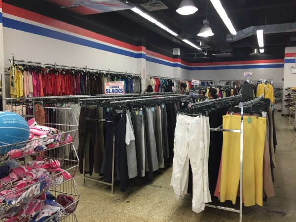 A selection of women's clothes at the Salvation Army, one of the shops along East 23rd Street's Thrift Shop Row (Photo by Sabina Mollot)
