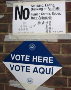 Signs at a Stuyvesant Town polling place in a prior election year