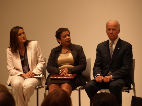 "(L-R) ""Law & Order: Special Victims Unit"" Actress Mariska Hargitay, United States Attorney General Loretta Lynch and Vice President Joe Biden at a press conference at the Office of the Chief Medical Examiner to discuss grants that would reduce the backlog of untested rape kits. (Photo by Maria Rocha-Buschel)"