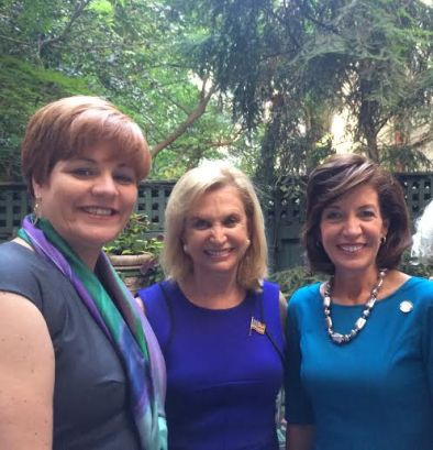Congresswoman Carolyn Maloney (center), pictured with Christine Quinn, special advisor to the governor, and Lieutenant Governor Kathy Hochul on Women's Equality Day, when she was drawn into the debate over desnudas (Photo by Grace Harman)