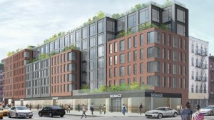 Work on a new development being built on East 14th Street (pictured in above and below renderings) has been held up, Extell Development claims, due to  a lack of cooperation from the owners of a neighboring building.