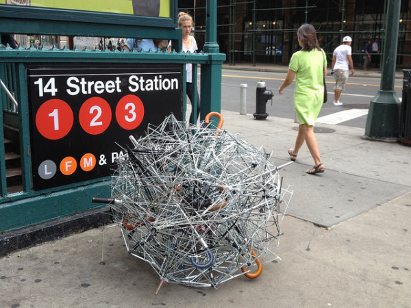 "A tumbleweed fashioned from discarded umbrellas, by artist Tim Thyzel, is part of the upcoming ""Art in Odd Places"" festival, which has the theme this year of ""recall."" (Photo courtesy of Art in Odd Places)"