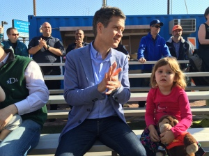 State Senator Brad Hoylman, pictured with daughter Silvia at the Peter Stuyvesant Little League Parade (Photo by Sabina Mollot)